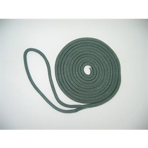 "double braided nylon dock line 3 / 8"" x 15' forest green"