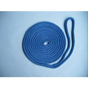 "double braided nylon dock line 3 / 8"" x 20' blue"