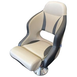 deluxe white & charcoal flip-up bolster style bucket seat