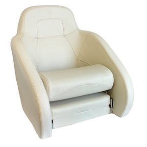 deluxe white on white & light beige stitching, flip-up bolster style bucket seat