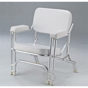white folding aluminium chair with armrests