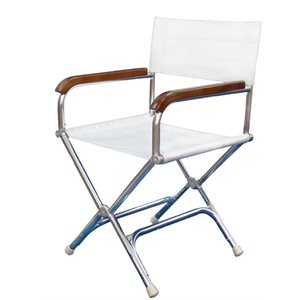 white folding deck chair