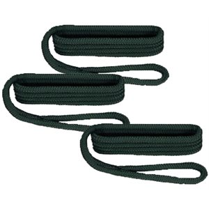 "double braided nylon fender line fender line 6' x 3 / 8"" forest green  / pkg 3"