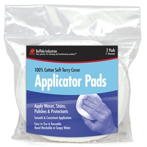 terry applicator pads, 5'' round, 2-pk bag