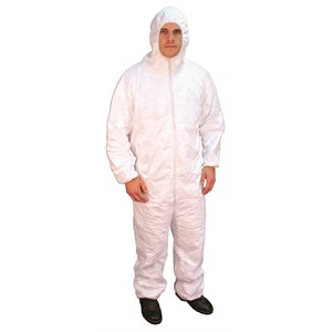 sms coveralls, xl, hooded and shoes, 1-pk