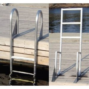 aluminum dock ladder, 4-step flip-up