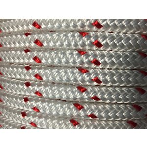 "double braided polyester rope 5 / 16"" with red trace"