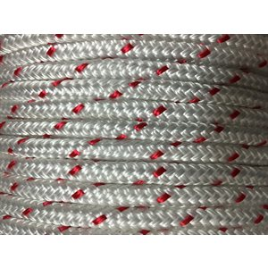 "double braided polyester rope 3 / 8"" with red trace"